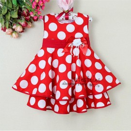 2013ChristmasToddlers Dress White And Red Dot With Flower Baby Girl Princess Dress Discounts Kids Cl Baby Girl Party Dress Party Wear Kids Summer Clothing