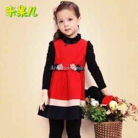 Christmas RFruit female child autumn clothing 2013 woolen tank dress child princess one-piece dress one piece dress piece dress dress barn dresses