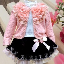2013 autumn female child three piece set dresses set child three pieces set skirt children's clothing lace outerwear children dress clothing children s dress clothing children clothings