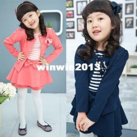 Children's clothing female child 2013 autumn preppy style small suit jacket skorts twinset suit jacket children clothings jacket clothing