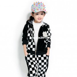 Children's clothing 2013 female child autumn set child spring and autumn plaid twinset 3263 sports spring flowers children c children sports clothing children clothings