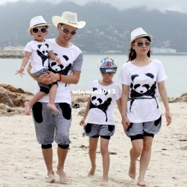 Summer parent-child clothes for mother and daughter giant panda mother and child set large loose t-shirt family pack d058 child clothes children summer clothes children fashion clothes