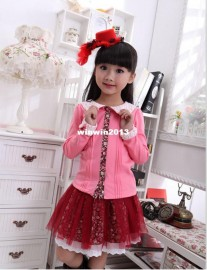 2013 children's autumn clothing child peter pan collar 100% cotton long-sleeve top female child floral print skirt twinset skirt clothing clothing skirt skirt children