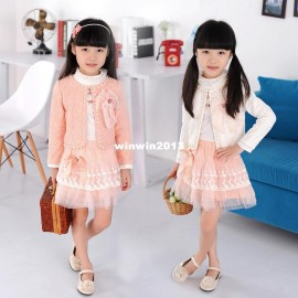 2013 spring hot-selling children's clothing female child butterfly beading piece set skirt children's clothing children clothings wholesale children clothi french children clothing