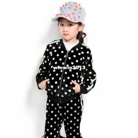 Children's clothing female child spring and autumn 2013 set medium-large child baby casual dot twinset spring flowers children c spring baby clothing children clothings