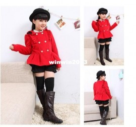 2013 children's autumn and winter clothing female child long-sleeve double breasted woolen overcoat child outerwear culottes set children winter clothing children clothings winter clothings
