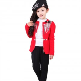 Children's clothing spring and autumn long-sleeve child female child set small suit jacket baby basic shirt trousers blazer children clothings wholesale children clothi french children clothing