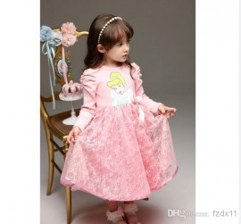 Color: Pink Source categories: Spot Suitable ages: children fitted (1-3 years old), Item: QZ197 style: A-line dress Origin: Guangdong Whether the stock: Yes For the season: spring and autumn fit Height: Size 90-110 Fabric: Cotton blended Whether the trade