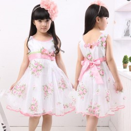 New summer girls dress skirt princess dress put on a large rose veil 8503 a generation of fat Kids Children Skirt