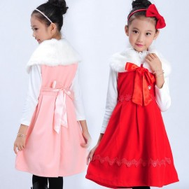 Children dress 2013 autumn and winter large hollow lace vest dress Girls dress a generation of fat 8829 Kids Children Skirt