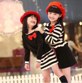 Casual spring new children's clothing girls long sleeve sweater dress one-piece set of 8501 a generation of fat Kids Children Skirt