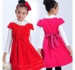 2013 autumn and winter children's clothing children dress large hollow …