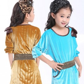 Kids fall new bat large gold velvet skirt dress princess dress children a generation of fat 8071 Kids Children Skirt