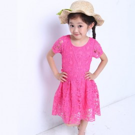 Brand new children's summer short-sleeved lace dress girls dress children a generation of fat 8066 Children Skirt Kids Children Skirt