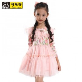 2014 spring models of high-quality children's clothing girls dress Korean printing mesh knit tops Children Skirt 3310 Kids Children Skirt