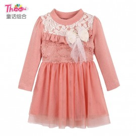 2013 autumn and winter girls dress fairy combination of new Korean long-sleeved lace dress Q1052 thermal recommended to fight hair Kids Children Skirt