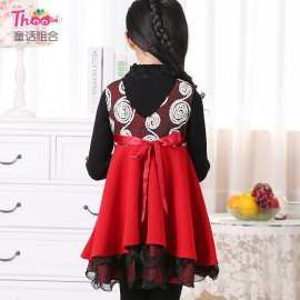 Children dress 2013 new Korean girls winter vest dress pleated dress skirt Q1063 child performers Kids Children Skirt