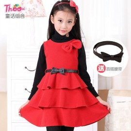 2013 qiu dong female fairy combination of the original single children 's clothes girls dress woolen skirt 6302 Hot recommend Children Skirt Kids Children Skirt