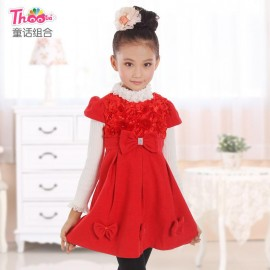 Combination of children's fairy tale princess dress 2013 Korean version of the new autumn and winter roses girls dress children dress 1335 Kids Children Skirt