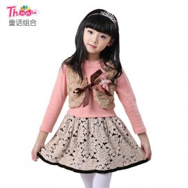 Fairy princess dress children dress combination 2013 new Korean version of the children leave two children skirt dress 1038 Kids Children Skirt