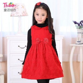 2013 autumn and winter children's fairy tale combination new Korean doll collar embroidered vest skirt girls dress 8030 Kids Children Skirt