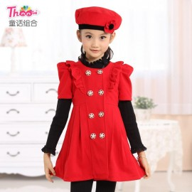 A generation of fat Dongkuan girls dress children dress explosion models New quilted double-breasted girls dress children Children Skirt Kids Children Skirt