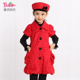 A generation of fat children's original single Korean version of the classic children dress girls dress sent thick quilted hat F588 Children Skirt Kids Children Skirt