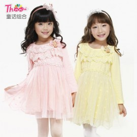 Children dress fairy portfolio models fall 2013 Korean version of the new winter children cotton long-sleeved dress children dress Q1199 Kids Children Skirt