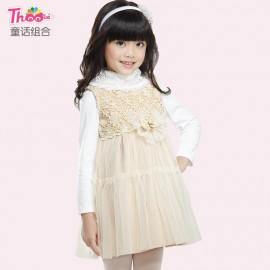 Upscale children 's clothes princess dress 2013 new Korean version of the fall and winter clothes for girls woolen dress lace 16020 Kids Children Skirt