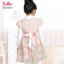 2013 new brand children's clothing girls dress children princess upscale embroidery veil 6006 Children Skirt Kids Children Skirt