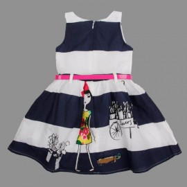 Free Shipping 18m-6y baby girls fashion princess cotton dress lovely stripe dress with print and sashes wholesale H4068# Dresses Cheap Dresses Free Shipping 18m 6y baby