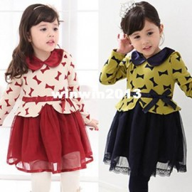 Clothing female child long-sleeve dress 2014 spring bow gauze Dresses Cheap Dresses China Dresses Suppliers