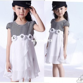 2014 new arrival kids summer clothes girls striped chiffon and cotton girls casual brief dress free shipping KYZ033 Dresses Cheap Dresses 2014 new arrival kids sum