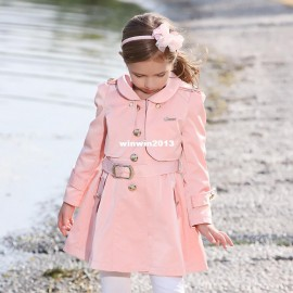 New arrival FOLLOWME 2014 autumn and winter girls clothing two-piece long design solid color belt child princess trench Dresses Cheap Dresses China Dresses Suppliers
