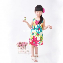 Retail girl dress Flower Painting girl dresses oil new fashion 2014 100% cotton floral dresses children clothing dresses Apparel & Accessories Cheap Apparel & Accessori Retail girl dress Flower