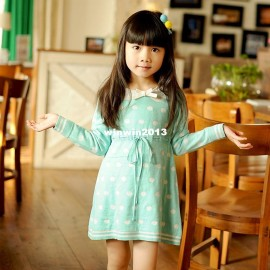Roll 2013 winter new arrival children's clothing female child long-sleeve polka dot sweater knitted one-piece dress princess Dresses Cheap Dresses China Dresses Suppliers
