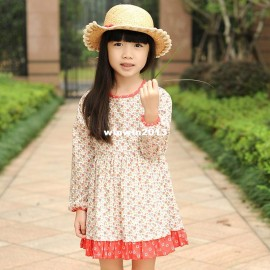 Roll 2014 spring children's clothing female child o-neck long-sleeve print one-piece dress princess one-piece dress Dresses Cheap Dresses China Dresses Suppliers