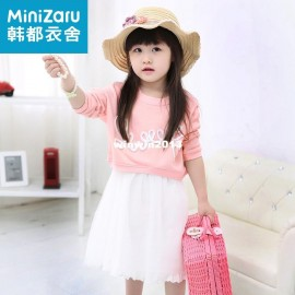Minnie 2014 spring girls clothing long-sleeve twinset one-piece dress gauze zo3037 Dresses Cheap Dresses China Dresses Suppliers