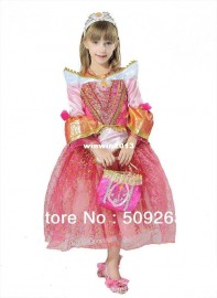 2014 lovely princess dress with crown children queen dress cosplay costumes for little fairy pink and yellow girl dress B08003 Dresses Cheap Dresses 2014 lovely princess dres