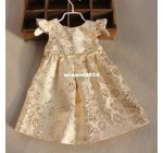 2014 100% cotton lining girl dress gold colour embroidery dress prince …