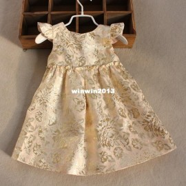 2014 100% cotton lining girl dress gold colour embroidery dress princess dress few quantity in stock Dresses Cheap Dresses China Dresses Suppliers