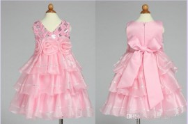 Retail New girl's fashion dress 2014 summer europe pink flowers sequins princess vest dresses TUTU Layered dress wedding dress girl dress wedding dress girl dress princess dress
