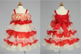 Retail New girl's fashion dress 2014 summer euro red fungus flower ruffles princess gallus dresses Layered dress evening dress girl dress wedding dress girl dress princess dress