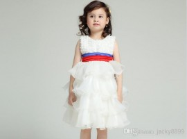 Retail New girl's fashion wedding dress 2014 summer white vest Flower princess dresses children's evening party dress kids wear 3-11Y wedding dress girl dress princess dress