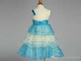 Retail New girl's wedding dress 2014 summer blue one shoulder gallus princess dress children's party dress flower girl dress kids wear 3-11Y wedding dress girl dress princess dress