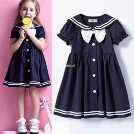 Free shipping 1pcs retail 3~11age navy cotton knee-length cute preppy style girls' dresses shij018 clothes care clothes fork clothes for a summer hote