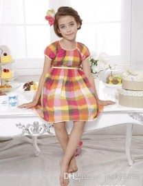 Retail new girls short sleeve party dresses 2014 summer euro fashion multicolor plaid formal dress princess dress children clothing 5-13Y princess dress fashion dresses party dress