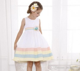 Retail Brand new girls princess dresses 2014 summer fashion white polka dot stripe flower vest party dress formal dress girls clothing 5-13Y princess dress fashion dresses party dress