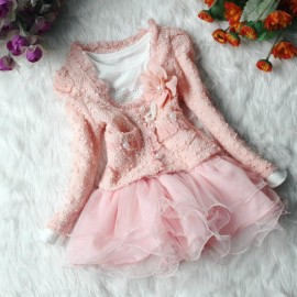 Free Shipping Beautiful baby Girls Dresses 2 Piece Cardigan and Dimante Dress Tutu baby kids Children clothing Dresses Cheap Dresses Free Shipping Beautiful b