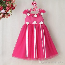 Children dress girls dress ribbon bow dimensional flower dress dimensional flower dress ribbon bow girls dress Children dress
